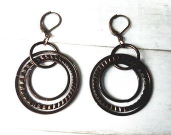 Large Circle Earrings - Chain Link Earrings - Ring Earrings - Rustic Earrings - Tribal Earrings - Brown Earrings