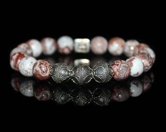 Mexican Crazy Lace Stone Bracelet, Men's Designer Bracelet, Men's Mexican Crazy Lace and Sterling Silver Beads Bracelet, Men's Bracelet