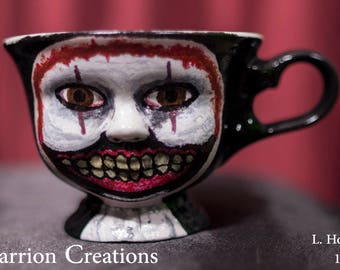 149 - Twisty the Clown from Season 4 of American Horror Story, 3 inch tall Ceramic Doll Face Tea Cup