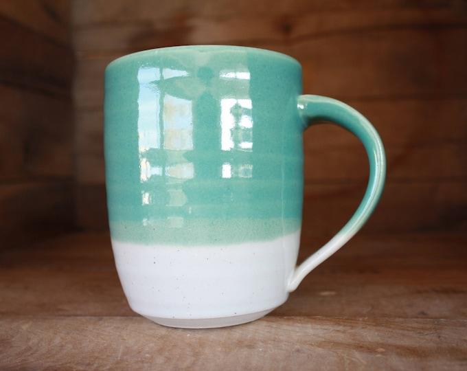 Coffee Mug - Ceramics & Pottery - Teal and White - KJ Pottery