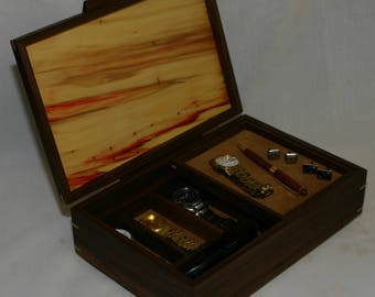 menu0027s combination valet box and watch box walnut with a wormy box elder top