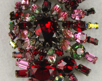 Gorgeous Schreiner New York Two Tiered Brooch In Shades of Red Green & Pink Glass