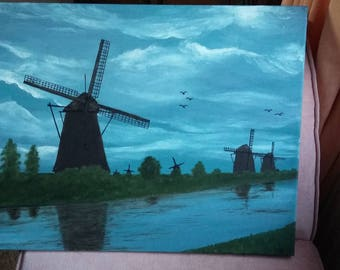 Original Oil Painting Picture on Canvas of Windmills and a River Holland