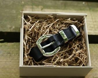 Ladies English Leather Belt - nickel horseshoe buckle