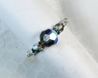 """Cynthia Lynn """"DAZZLE"""" Brilliant Black Diamond AB Swarovski Crystal Silver Stretch Ring"""