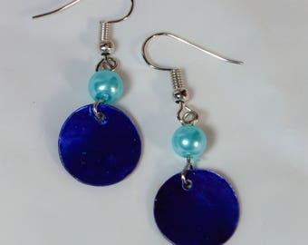 "Cynthia Lynn ""SUMMER BLUES"" Blue & Aqua Shell Pearl Beaded Drop Earrings"