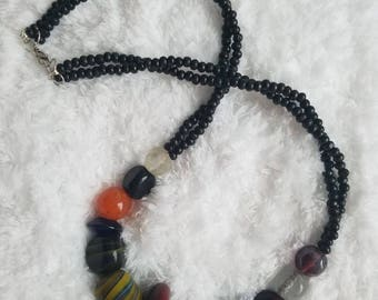 Black & Multi Colored Bead Necklace