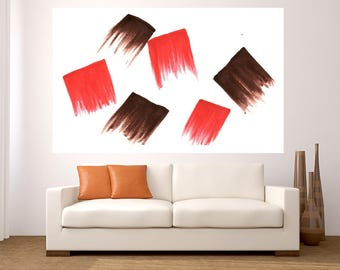 Fine Art Abstract brown red painting large acrylic pop art painting modern decor office living room dinning room handmade minimalist decor