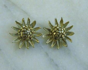 Silver Sunflower Clip-on Earrings by B.S.K.
