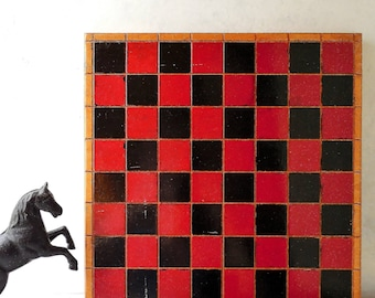 Vintage Painted Wood Checker Board & Box of Old Checkers -Aggravation 'Wahoo' Game Board on Reverse