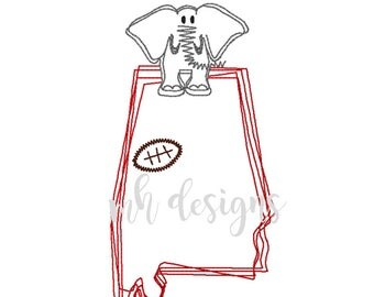 State of Alabama with Elephant and Football embroidery design, Vintage stitch elephant, Alabama embroidery file, Bean stitch elephant