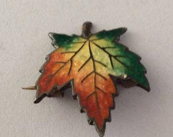 Antique Sterling and Enamel Maple Leaf Pin