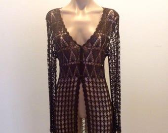Vintage Bette Paige Crochet Top Jacket Vest Boho Festival hippie.