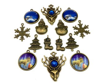 13 charms forest collection bronze tone+1 glass pendant #ENS B 128