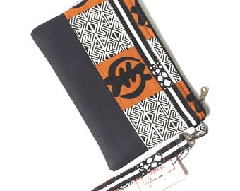 Gye Nyame wristlet, african bag, clutch purse, clutch bag, evening clutch bags for women, african purse, iphone wristlet, cellphone wristlet