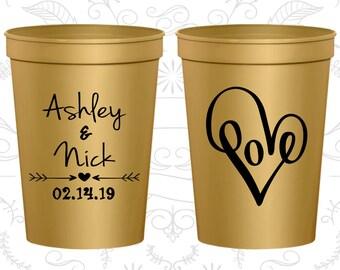 Love Wedding Cups, Custom Cups, Heart Wedding Cups, logo cups (252)