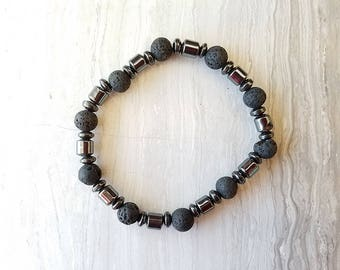 Essential Oil Diffuser Bracelet Lava Beads - Hematite Barrels, Aromatherapy bracelet