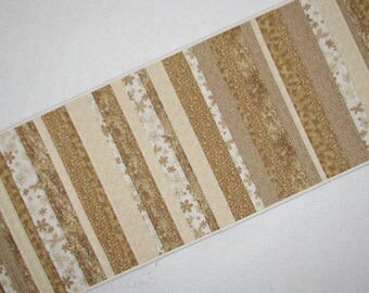 """FREE SHIPPING To Canada and USA, Modern Quilted Table Runner, Tan Natural White Strip Table Mat, Neutral Minimalist Table Runner, 16""""x42"""""""