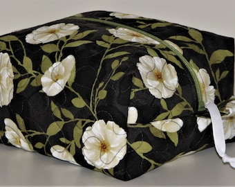 Boxy Zippered Pouch, Quilted Fabric Pouch, Project Bag, Mothers Day Gift Under 20, Cosmetics Bag, Black/White Floral Print, Quiltsy Handmade
