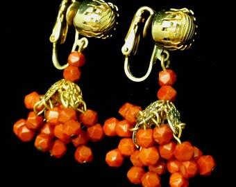 Orange Beads Drop Earrings Vintage