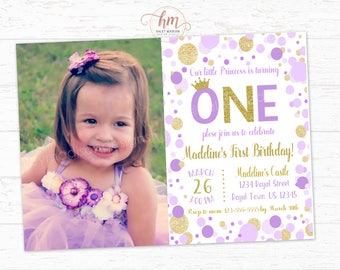 Princess Invitation, Purple and Gold princess Birthday Invitation, Gold and purple first birhtday party sparkle confetti, PRINTABLE FILE