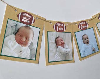 Football Photo Banner for 4x4 photos, Baby's first year monthly photo banner, Football birthday banner, Football first birthday decor