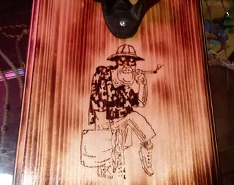 Ralph Steadman, Hunter S. Thompson Wood Burned Bottle Opener Plaque, Fear and Loathing in Las Vegas