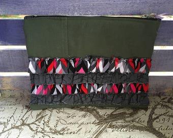 Dark Gray & Pink Chevron Flightsuit Make-up Bag