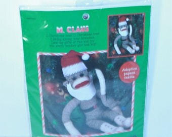 "Leisure Arts 21"" Sock Monkey Kit 46265 M. Claus with Adoption Papers Sealed Made in the USA!"