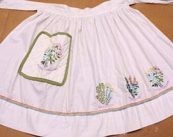 Farmhouse Kitchen Apron - Embroidered Herbs - Vintage Half Apron - Tie Apron - Waist Apron