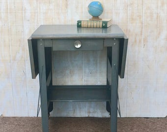 Vintage Aluminum Typing Table / Retro Machine Age Industrial Table. Circa 1950's.