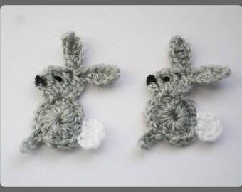 Lot 2 rabbits gray yarn crochet applique