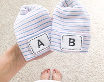 "Personalized ""Baby A"" and ""Baby B"" newborn hats for twins.  Newborn hats,  Hospital Newborn Beanie, Newborn boy and or girl hat"