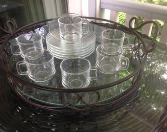 Vintage Mid-Century Glass Demitasse Set - Duralex France