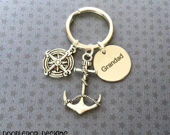 Grandad keyring - Birthday gift for Grandad - Anchor keyring - Nautical Grandad gift - Anchor keychain - Stocking filler gift - UK