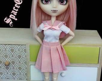 Pastel pink Japanese schoolgirl for Pullip uniform