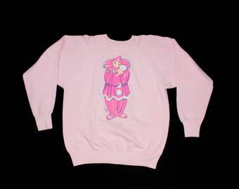 Vintage 1991 Clown & Kitty Graphic Sweatshirt