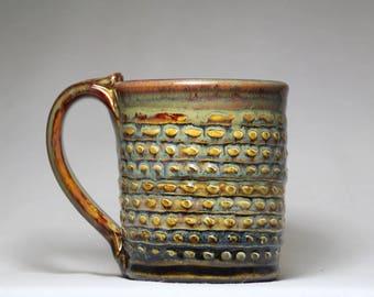 unique 12oz ceramic pottery mug, handmade coffee cup