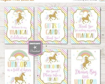 SALE INSTANT DOWNLOAD Printable Unicorn and Rainbows 8x10 Sign Party Package / Birthday / Baby Shower / Unicorn Collection / Item #3501