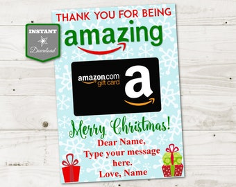 INSTANT DOWNLOAD Printable Christmas 5x7 Thanks for Being Amazing Gift Card Holder / Christmas Shop / Item #3071