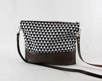 Triangle cross body bag with leather handle, ladies handbag, handbag, shoulder bag, Tote, ladies bag