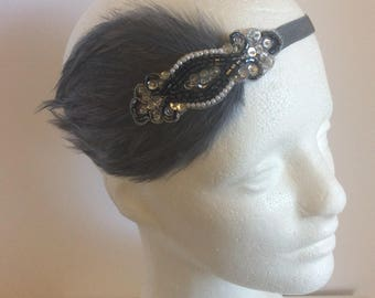 Gray Great Gatsby headband, charcoal gray headpiece, gunmetal beads, graphite flapper fascinator great gatsby  gray feather 1920s costume