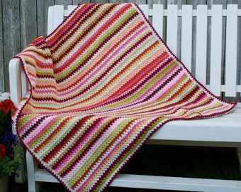 Crochet, V-stitch, Ranunculus Blooms baby/toddler/adult lap crochet blanket