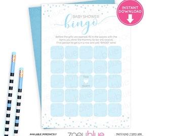 Boy Baby Shower Bingo Card - Blue & Gray Blank Bingo Card - Baby Shower Game Card - Baby Sprinkle Games Baby Blue Bingo-Instant Download