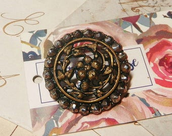 Ornate Brass Openwork Floral Button with Faceted Cut Steels