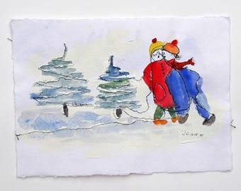 Snowy Meeting-Original Painting