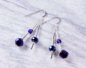Ultraviolet Purple Blue Metallic Glass Silver Earrings