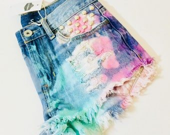 Rainbow Jean Shorts.  Watercolor dyed. Round silver studs. Suggest size 2-4 Read measurements first. Gorgeous.