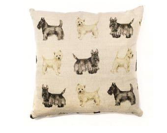 Dog Cushion Pillow Scottish Highland West Highand Terrier Scotty Dog