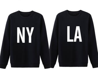 NY LA Couple Shirts, New York Los Angeles Shirt, Matching Couple Sweatshirt, Couple Hoodies, Couple Sweater, His And Her Shirt, Couple Gifts